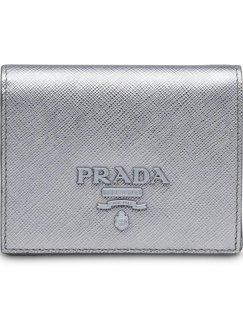 59bc050fc699 Prada - Gray Logo Plaque Billfold Wallet - Lyst. View fullscreen
