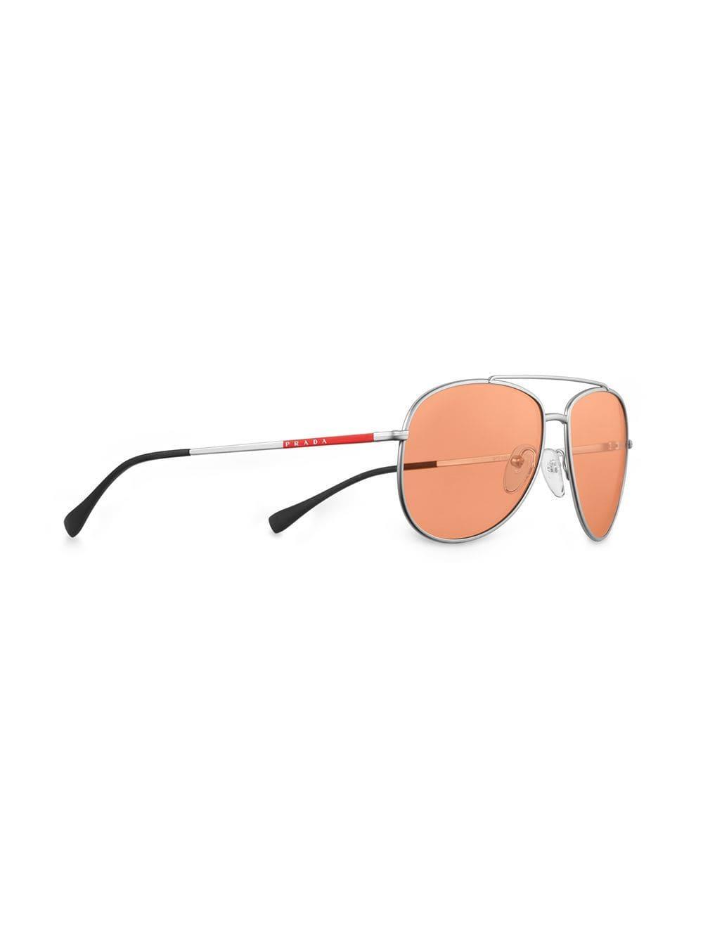 a55f44fd2c4d Lyst - Prada Aviator Sunglasses in Metallic for Men