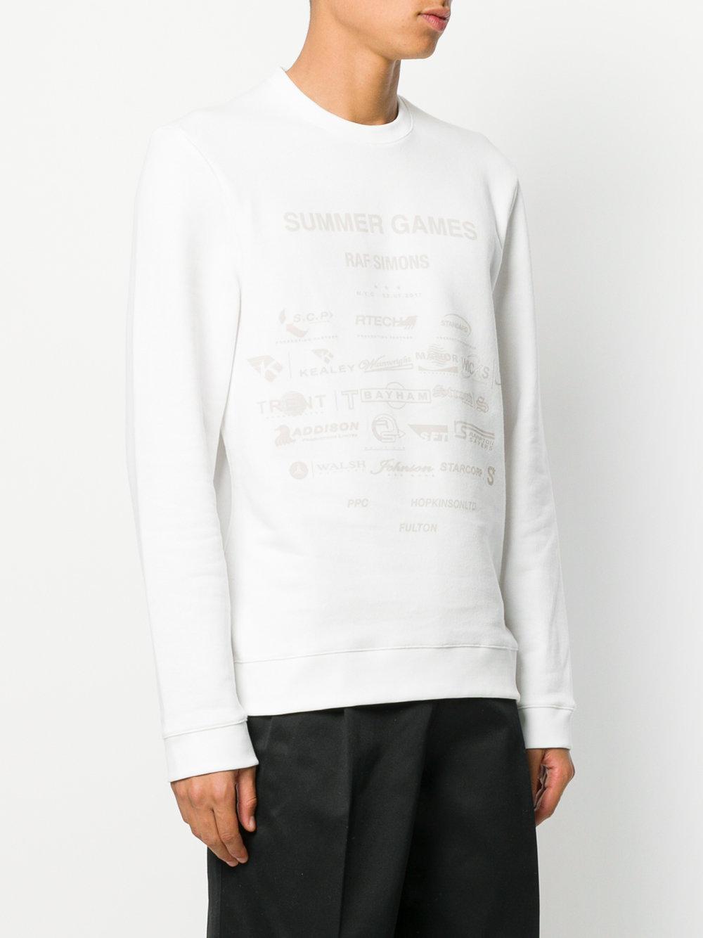 Raf simons Summer Games Sweater in White for Men | Lyst