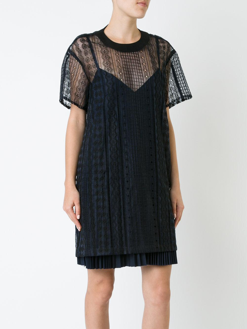 4f2579c2d85 Sacai Layered Open Embroidery Dress in Black - Lyst