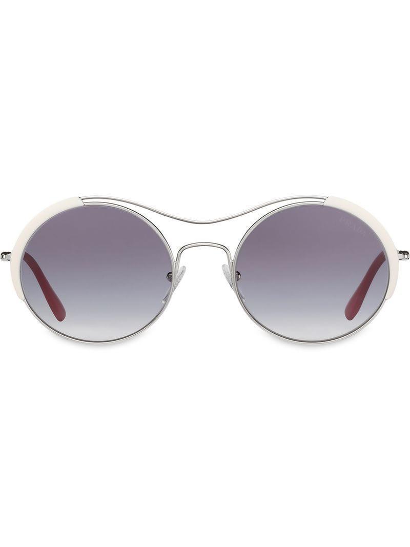 Lyst In Prada Sunglasses Round Shaped White 1qpZBq
