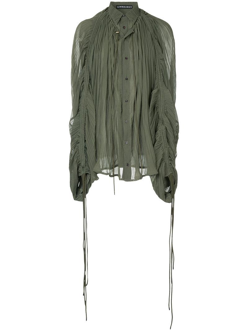 56bba6025cea5a Y. Project Pleated Button Shirt in Green for Men - Lyst