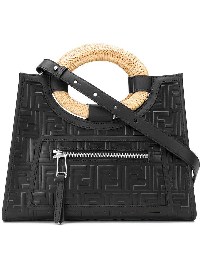 8da188ac371f Lyst - Fendi Embossed Logo Shoulder Bag in Black