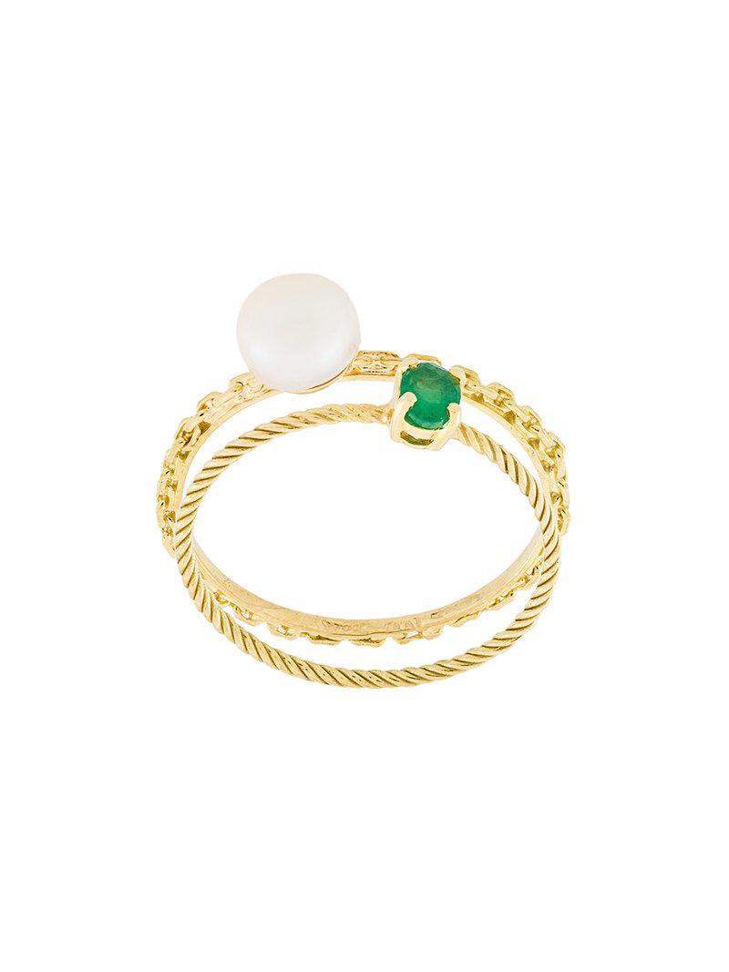 Wouters & Hendrix Emerald & Diamond set of two rings - Metallic 2L1v8v4V