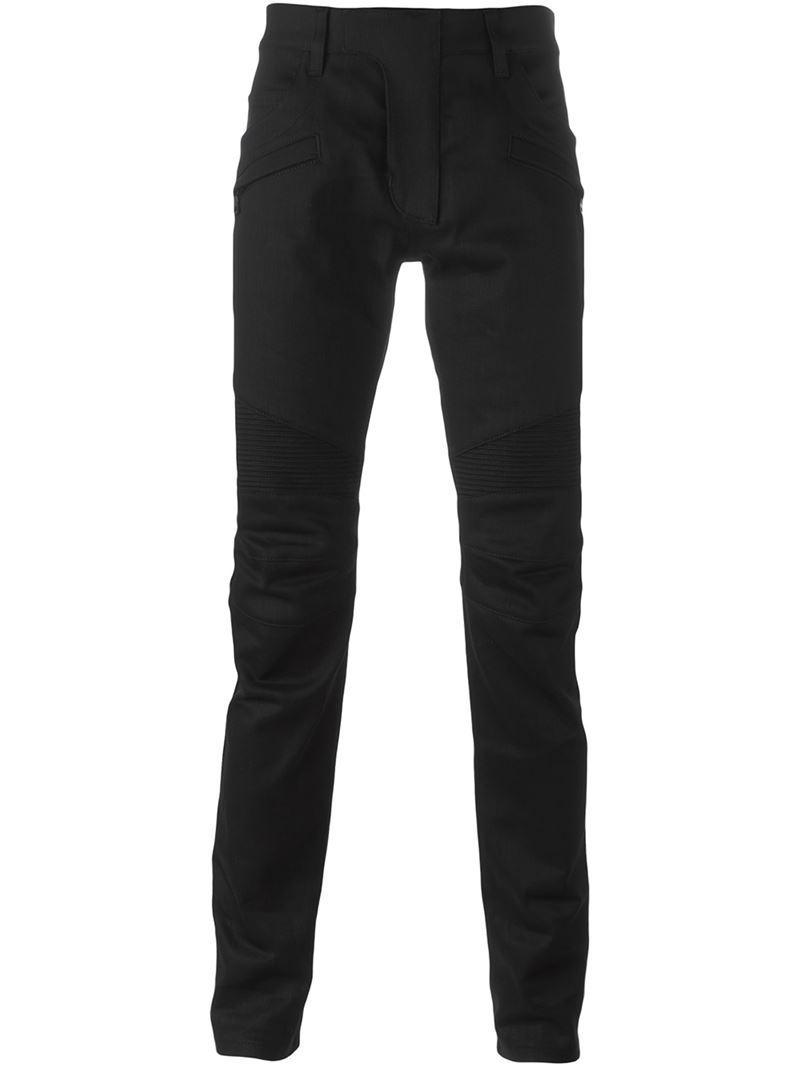 raw denim Biker jeans - Black Balmain Manchester Great Sale aGHnxXw