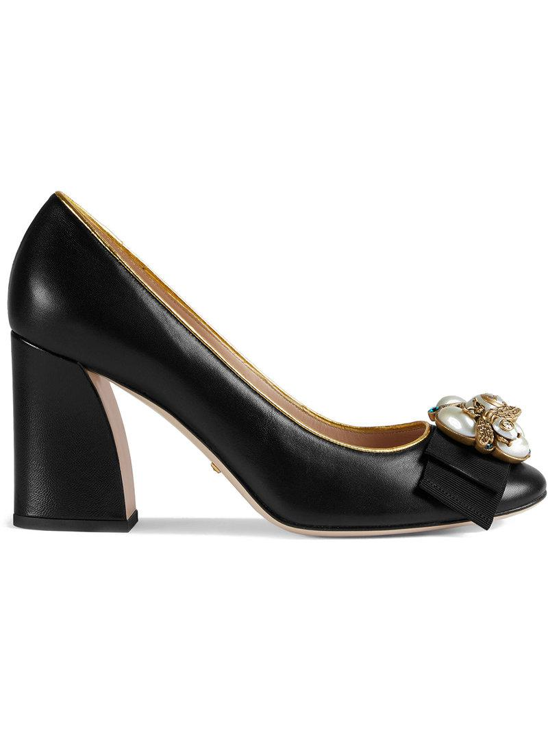 452f8a52f3ab Gucci Leather Mid-heel Pump With Bee in Black - Lyst