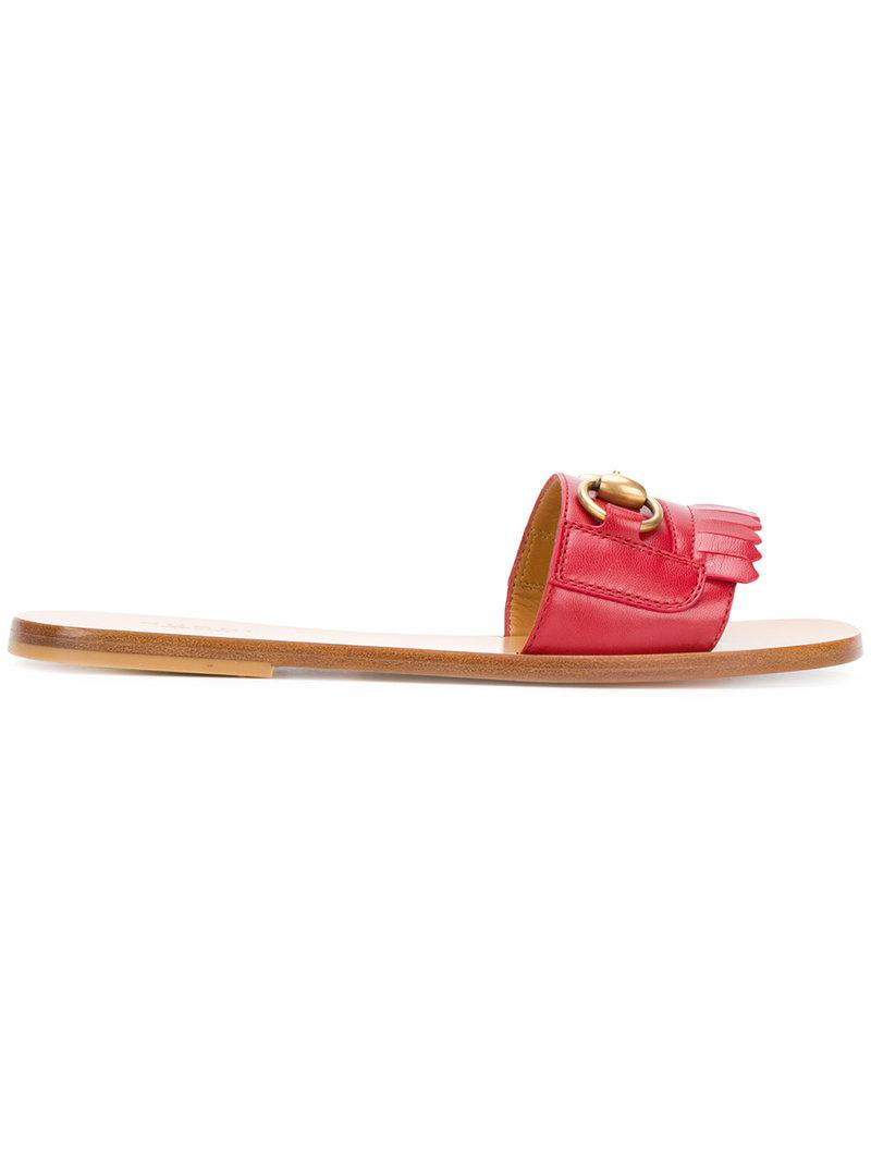 aa58a751fb3cec Lyst - Gucci Open Toe Sandals in Red