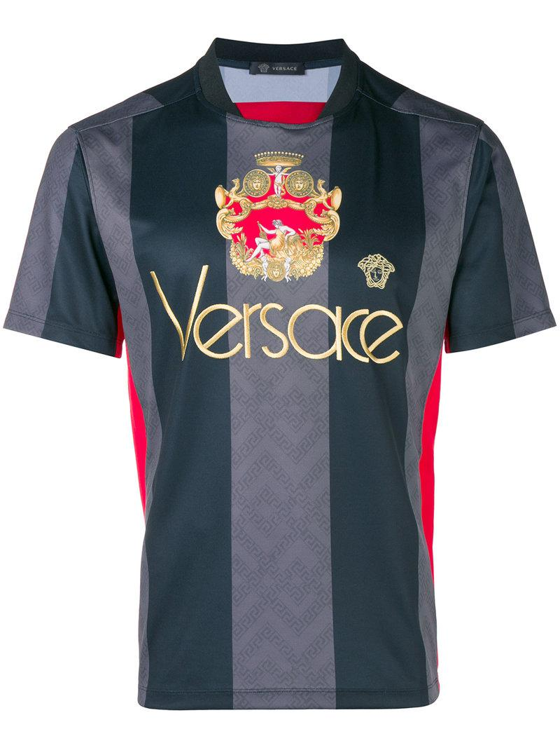 9c126c12e31e2d Versace - Black Logo Football Shirt for Men - Lyst. View fullscreen