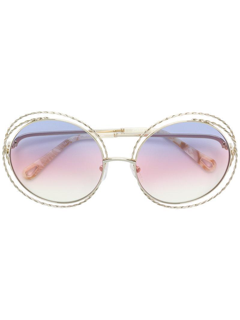 14ceb37087b Chloé Gold-toned Designer Glasses in Metallic - Lyst