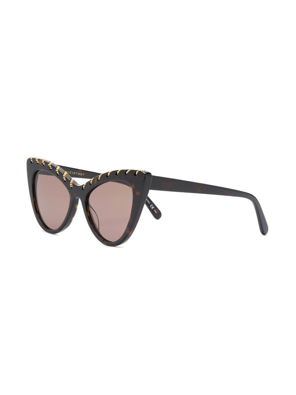 8d6a7a87df Stella McCartney - Brown Falabella Cat Eye Sunglasses - Lyst. View  fullscreen