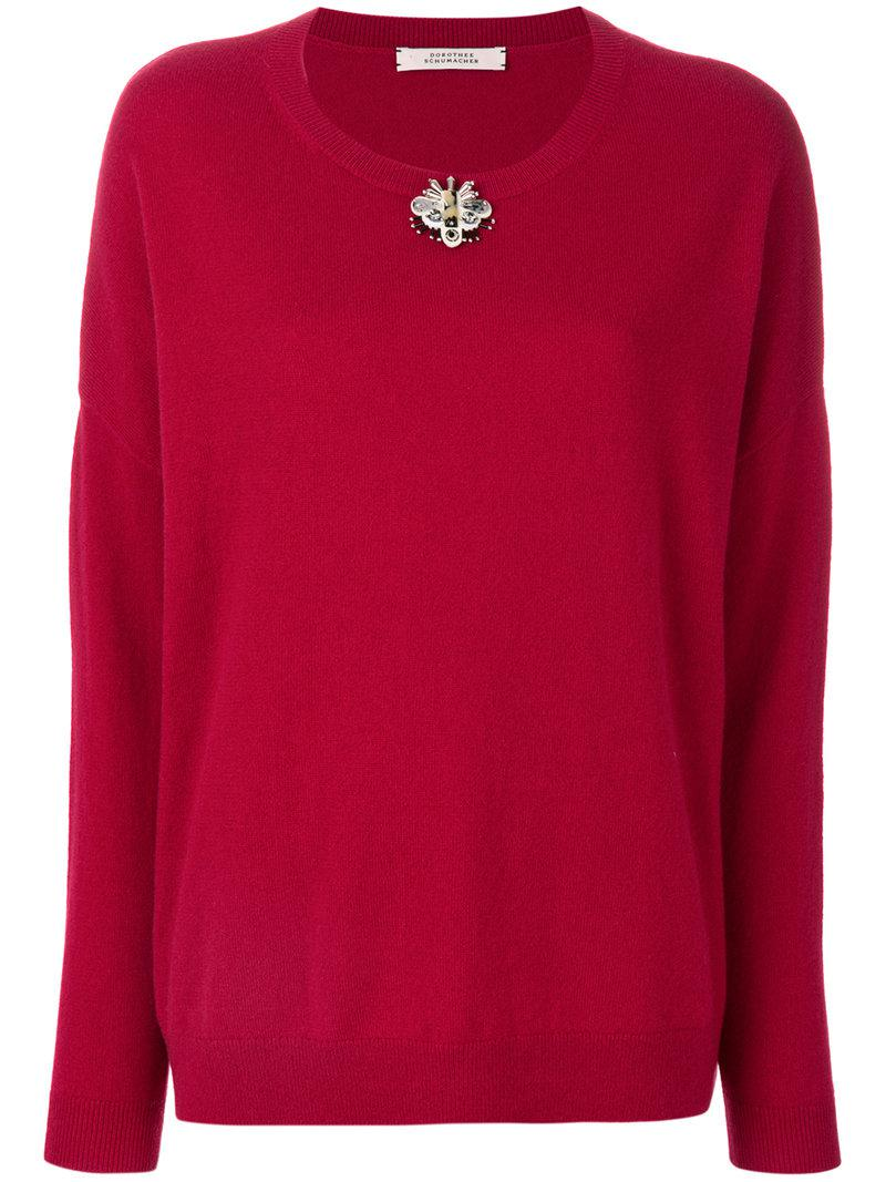 Dorothee schumacher Oversized Butterfly Embellished Sweater in Red ...