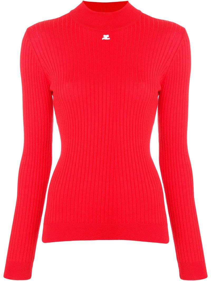 Courreges Ribbed Fitted Sweater in Red | Lyst