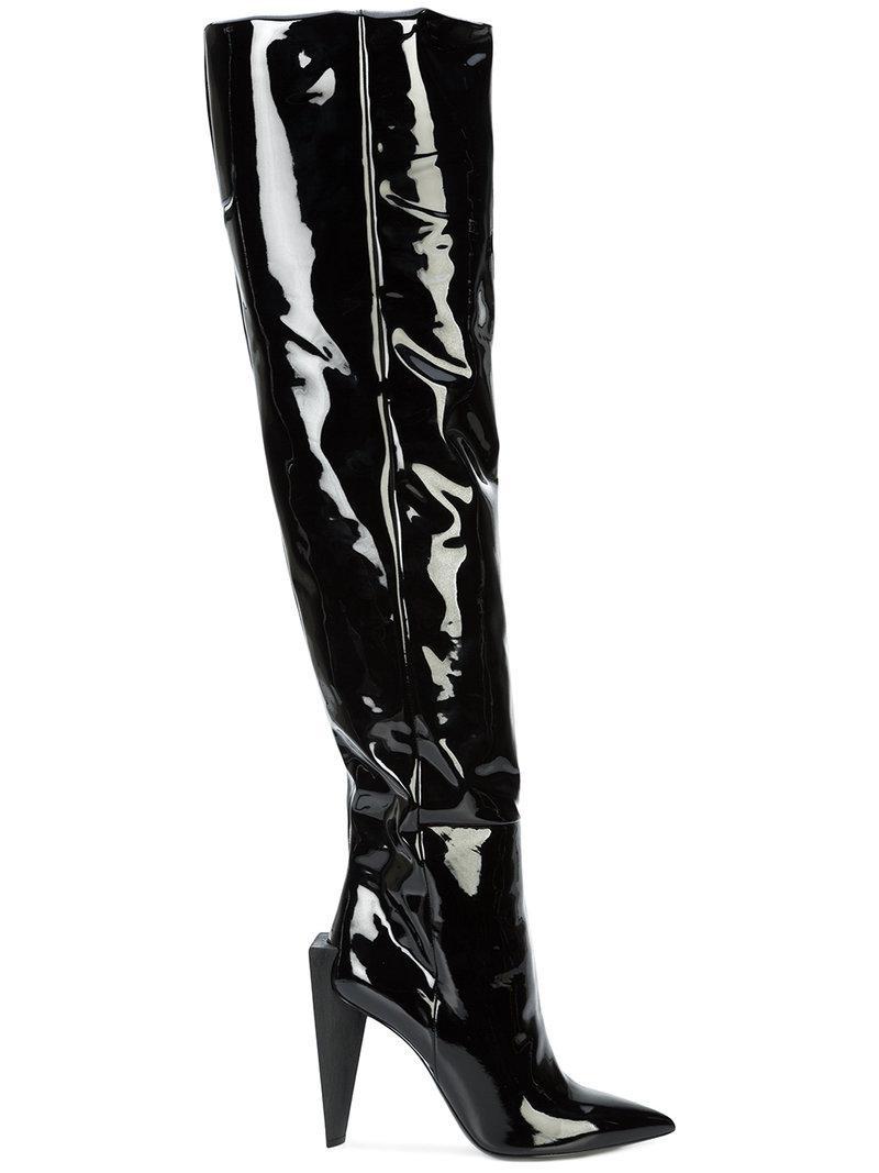 e7ab7ce4dc5 Lyst - Saint Laurent Jodie 105 Knee High Boots in Black