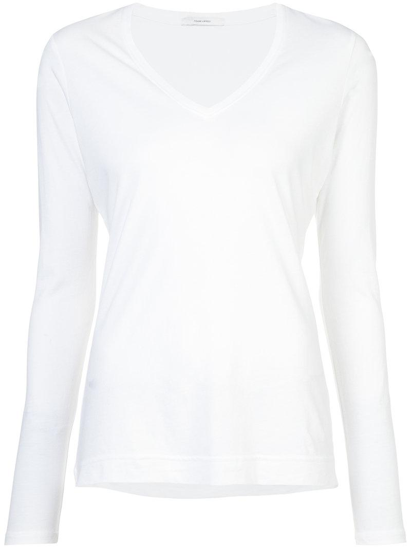 adam lippes long sleeved v neck top in white lyst