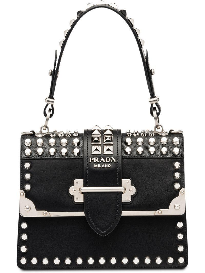 e87afd1424ed Prada Cahier Studded Leather Bag in Black - Lyst
