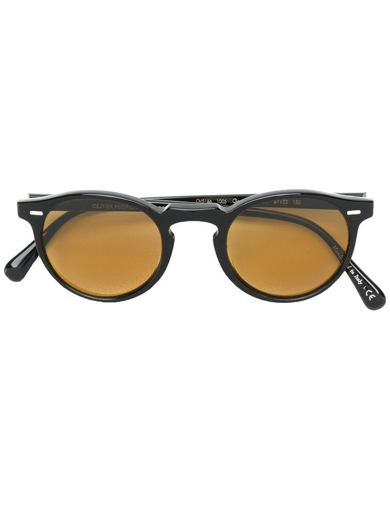3ab7624f75 Oliver Peoples Gregory Peck Round-frame Sunglasses in Black - Lyst