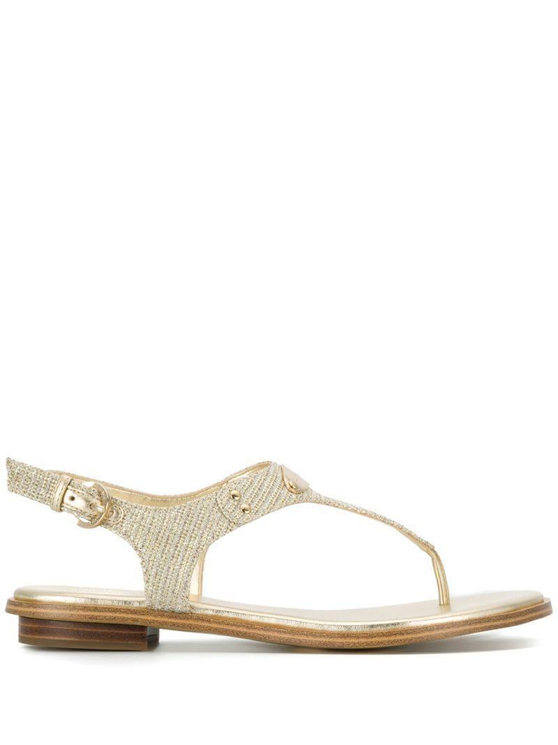 e88eac13413 Lyst - MICHAEL Michael Kors Mk Plate Embellished Sandals in Metallic