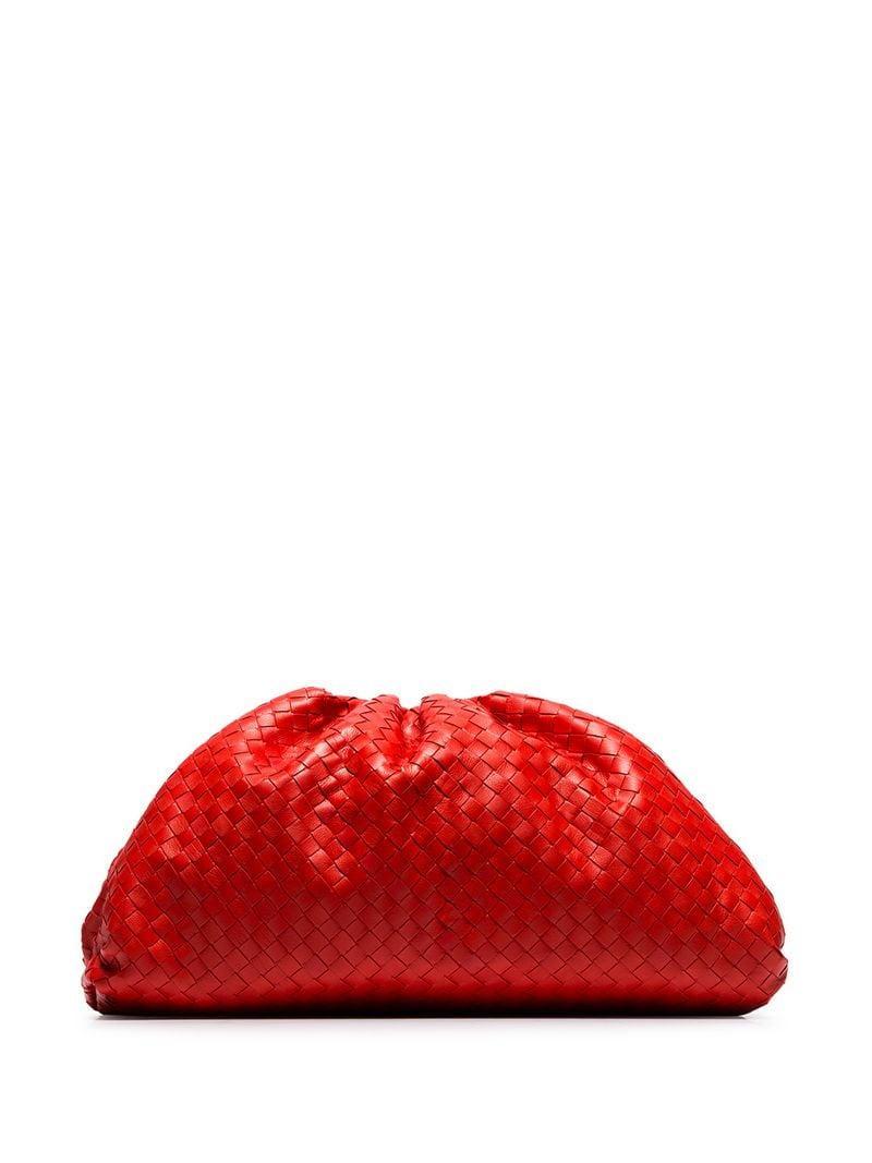 94671bef06 Lyst - Bottega Veneta Red Woven Leather Clutch Bag in Red