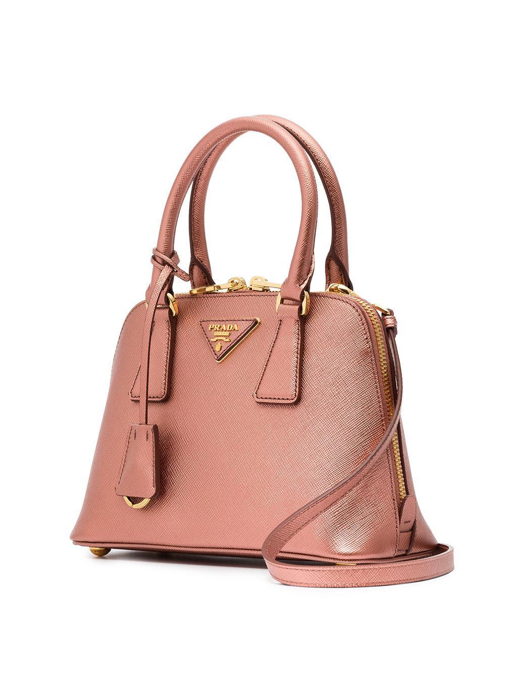 3efec79ac888 Lyst - Prada Pink Promenade Mini Leather Bag in Pink