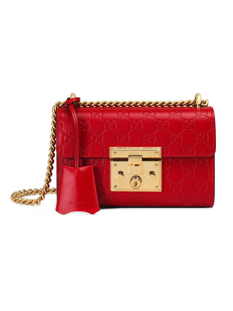 Gucci Small Padlock Signature Leather Shoulder Bag in Red - Save 15 ... 81c1128d4b251