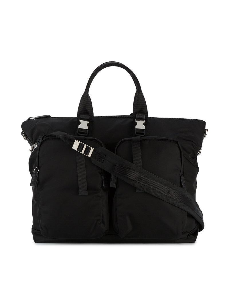 Prada Clip Fastening Holdall in Black for Men - Lyst 672aa147cd8b0