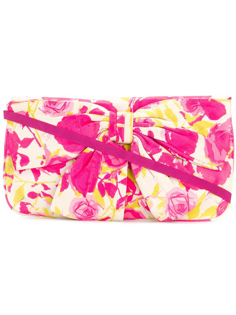 bow embellished clutch bag - Pink & Purple Lulu Guinness Cheap Price Store Wide Range Of For Sale j1ryxUF