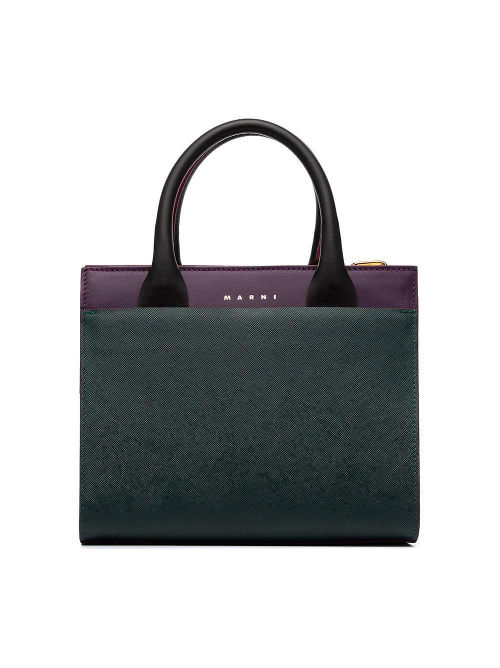 e6295717e893 Lyst - Marni Law Top Handle Leather Tote Bag in Purple