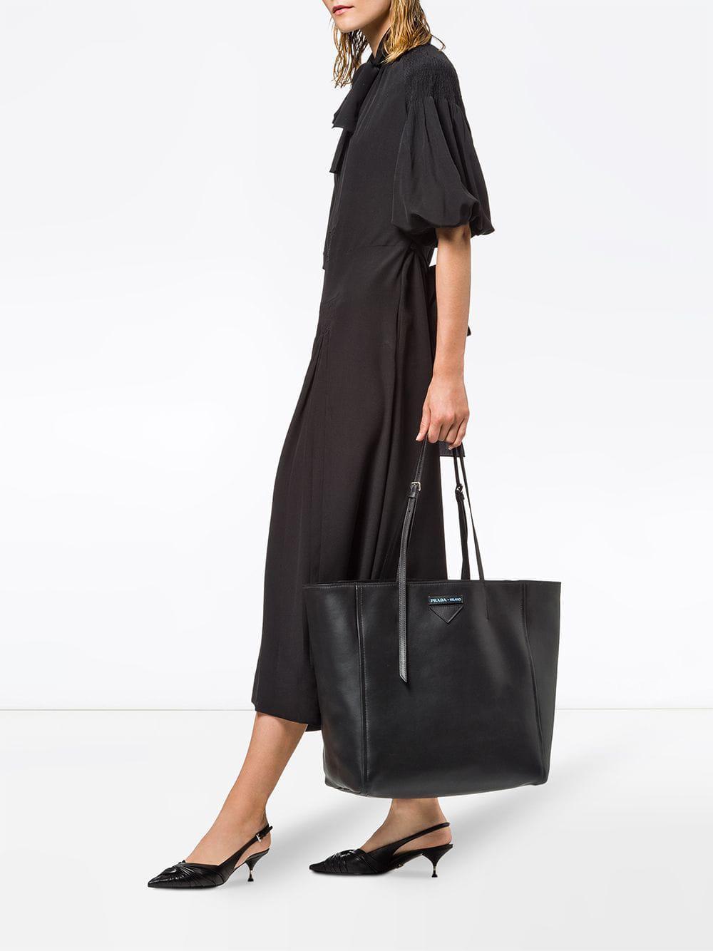 730685d6e1d8 Prada - Black Large Concept Leather Tote - Lyst. View fullscreen
