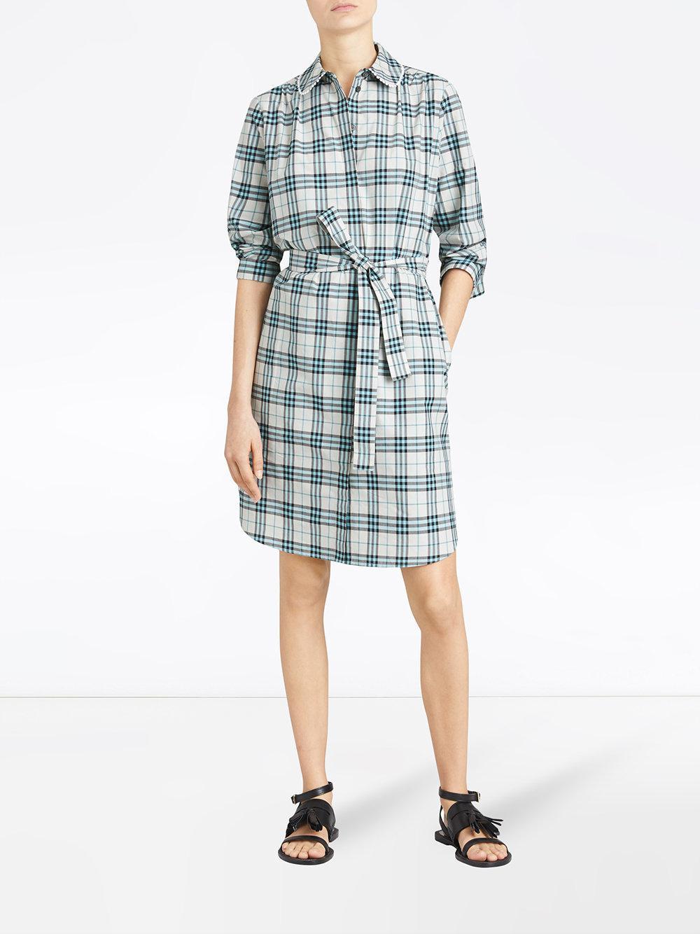 Lyst - Robe-chemise à carreaux Burberry en coloris Bleu f0d247421cf