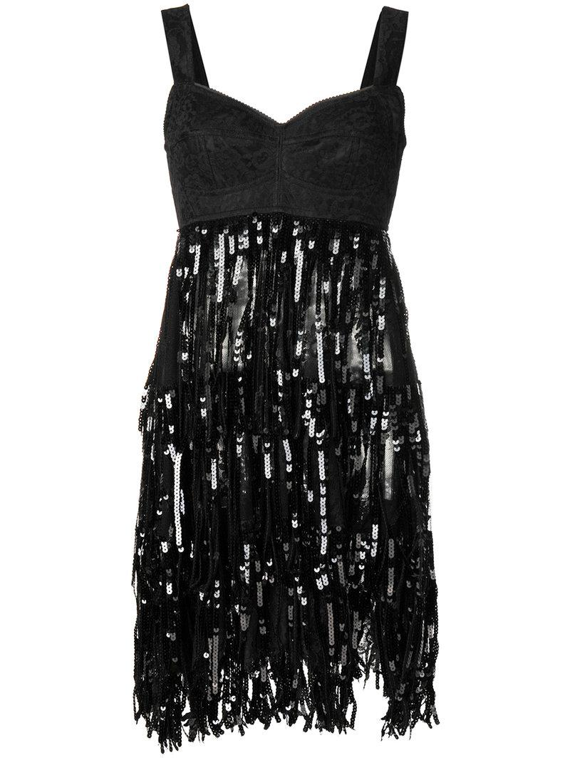 179748466ae Lyst - Dolce   Gabbana Lace Bodice Sequinned Dress in Black