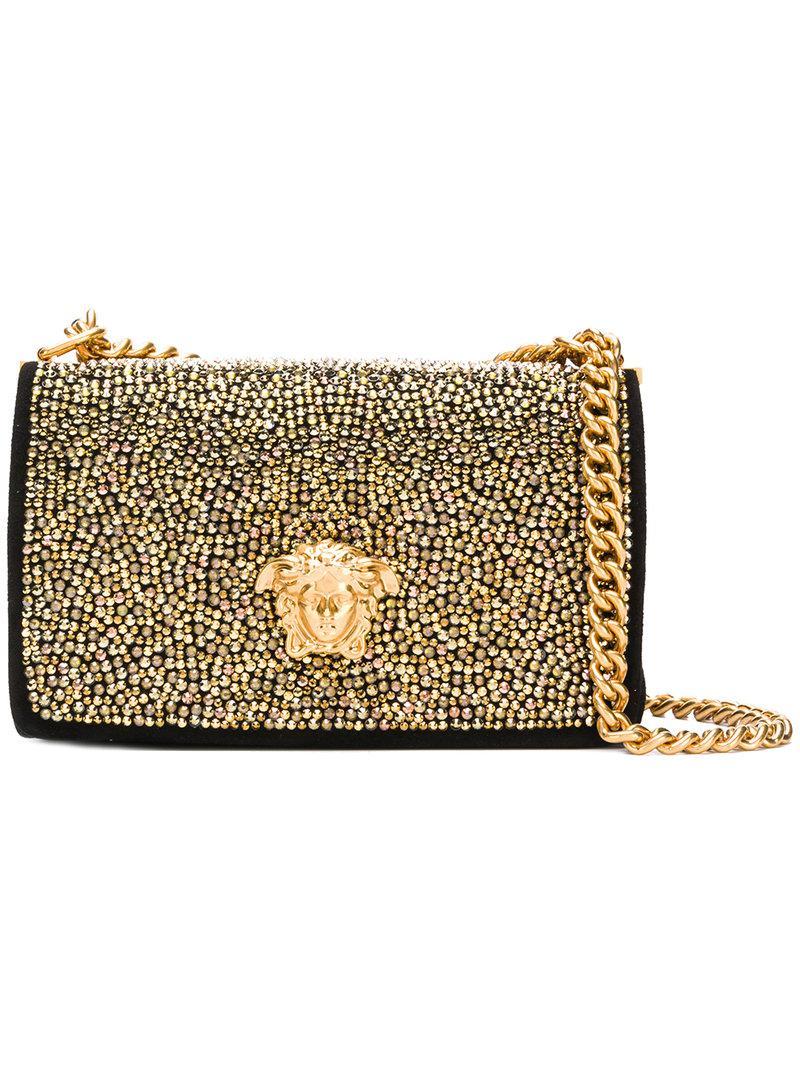 4cb3df1561 Versace Embellished Medusa Crossbody Bag in Black - Lyst