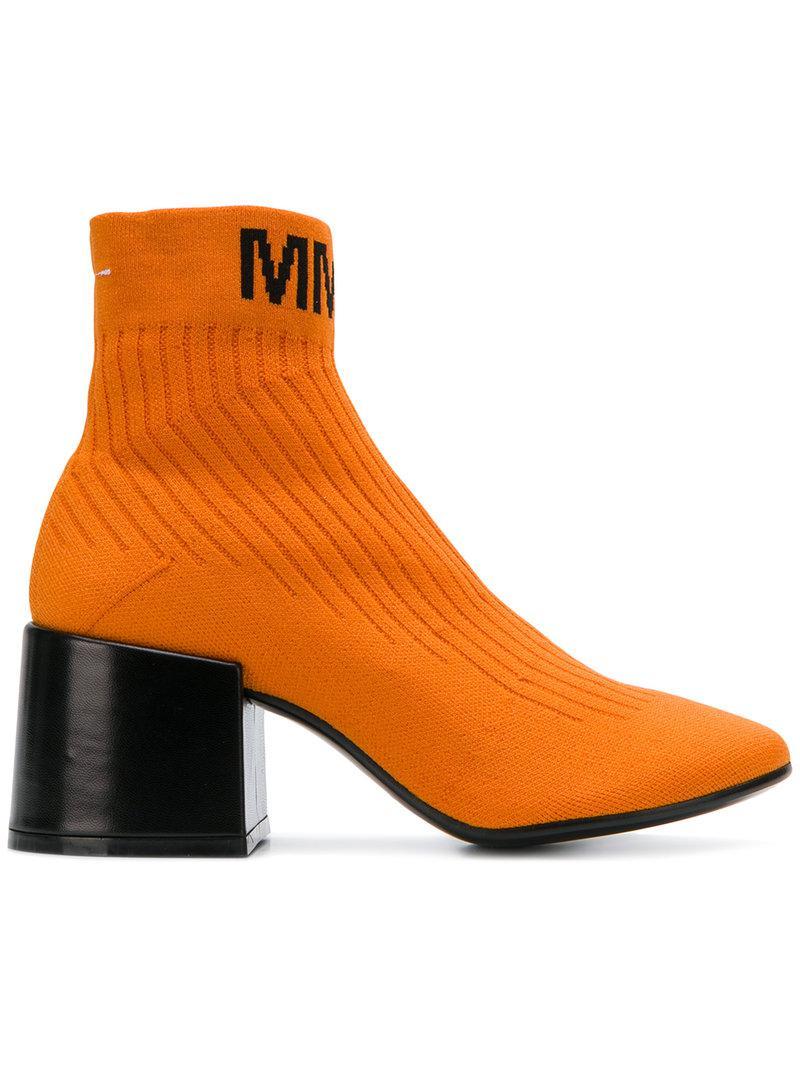 Mm6 Maison Bottes De Chaussette Flare Margiela - Jaune Et Orange fzBDx4NR