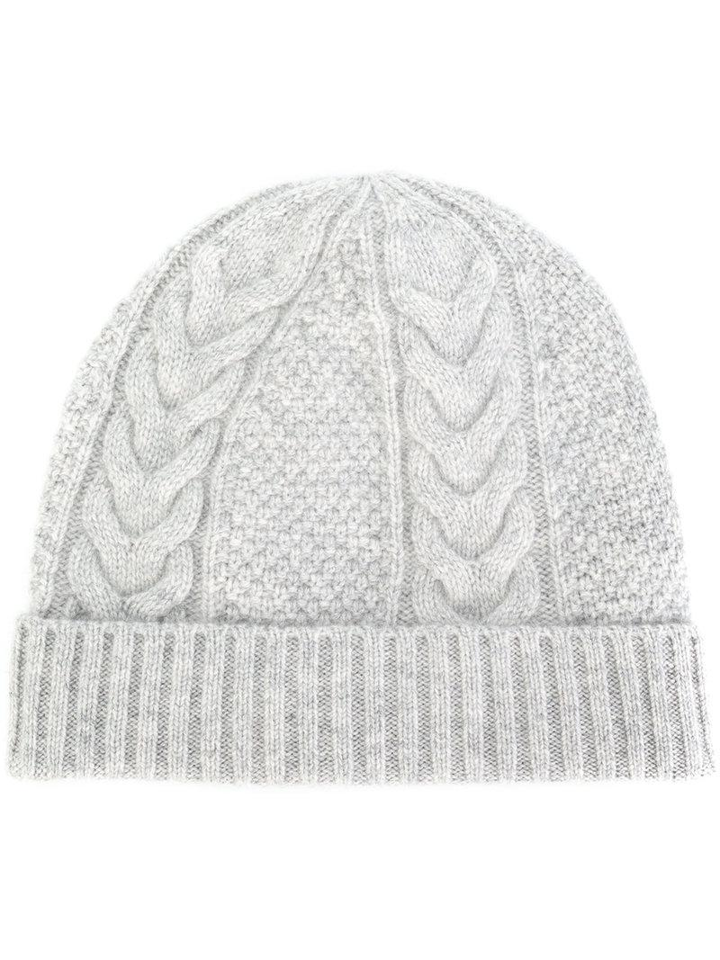 a35cb77bc79 Lyst - N.Peal Cashmere Cable Knit Beanie in Gray