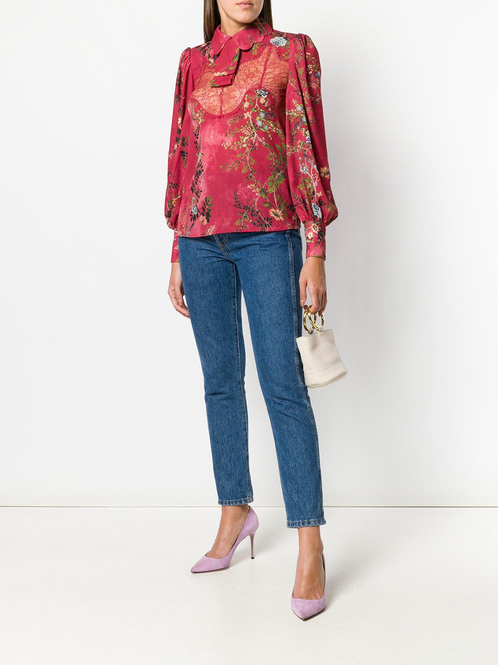 lace insert floral blouse - Red Elisabetta Franchi Real Sale Online Explore For Sale KGHS7F3zLE