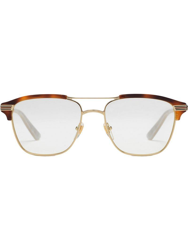 d7b4f1125f Lyst - Gucci Square-frame Metal Glasses in Metallic for Men