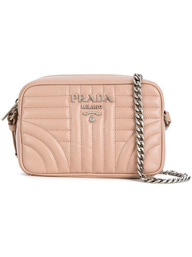 Prada Diagramme Leather Crossbody Bag in Pink - Lyst 9ebd9f0a740c9