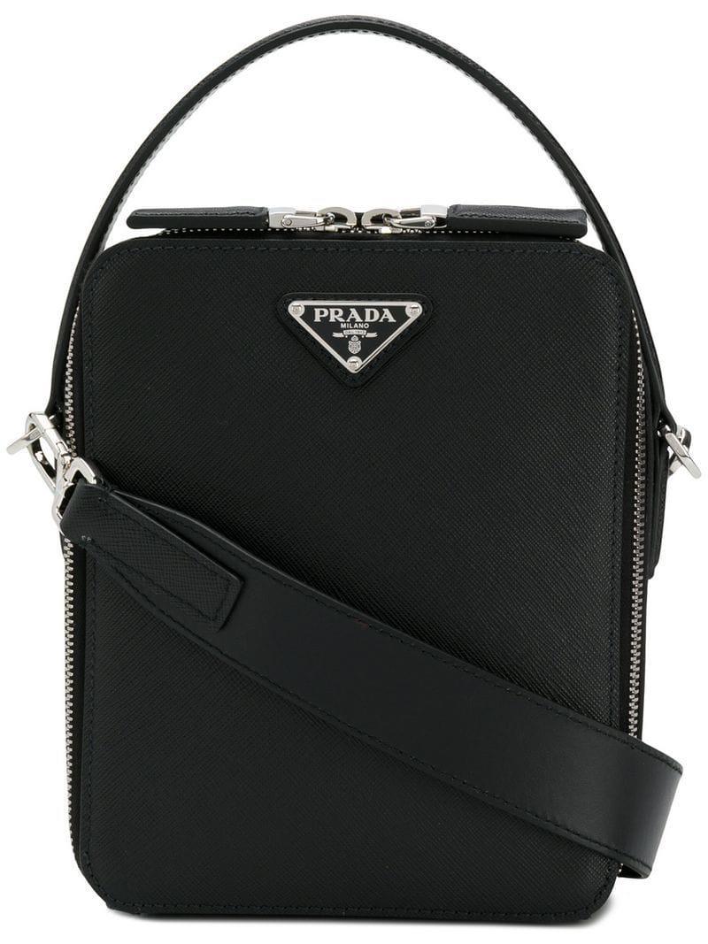 Prada - Black Logo Saffiano Bag for Men - Lyst. View fullscreen df1fc170ef2d7