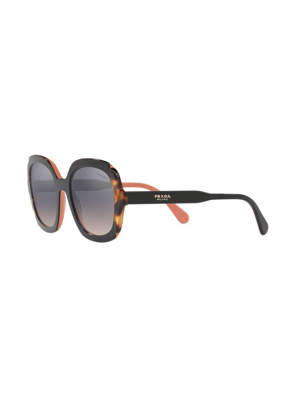 5aeee329f760 Prada Tortoiseshell Detail Sunglasses in Black - Lyst