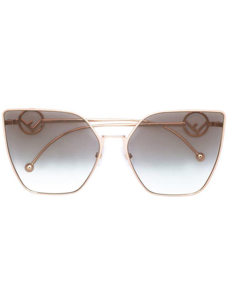 94e815450ae3 Fendi Oversized Cat-eye Sunglasses in Metallic - Lyst