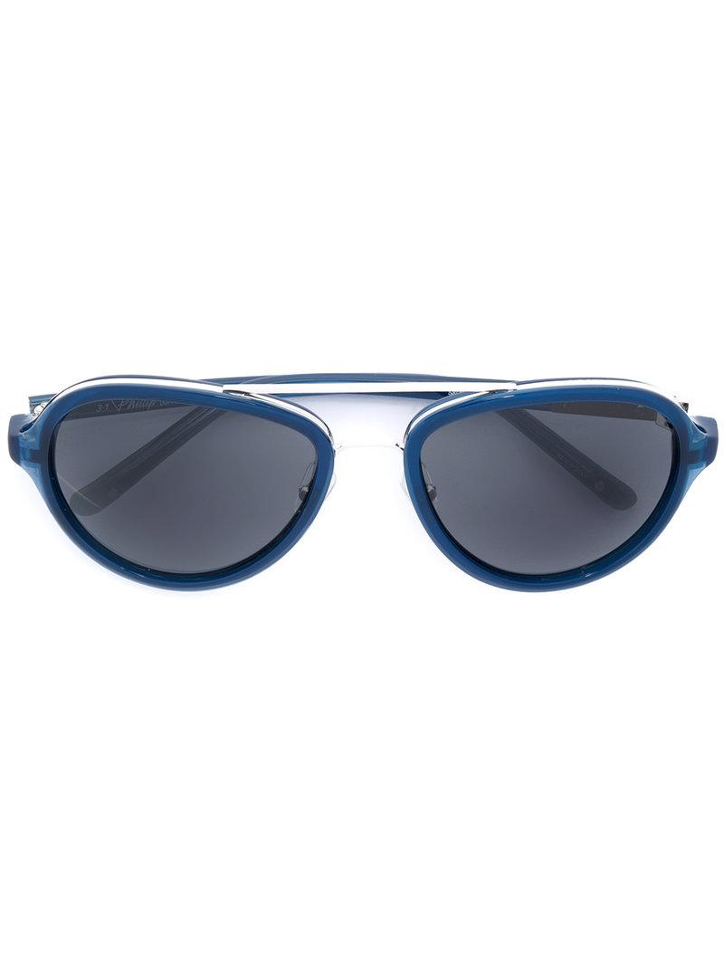 bc44af3132ea Linda Farrow Aviator-style Sunglasses in Blue - Lyst