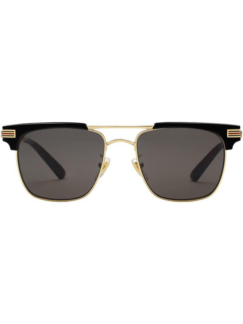 4318a8db84b Lyst - Gucci Square-frame Metal Sunglasses in Metallic for Men