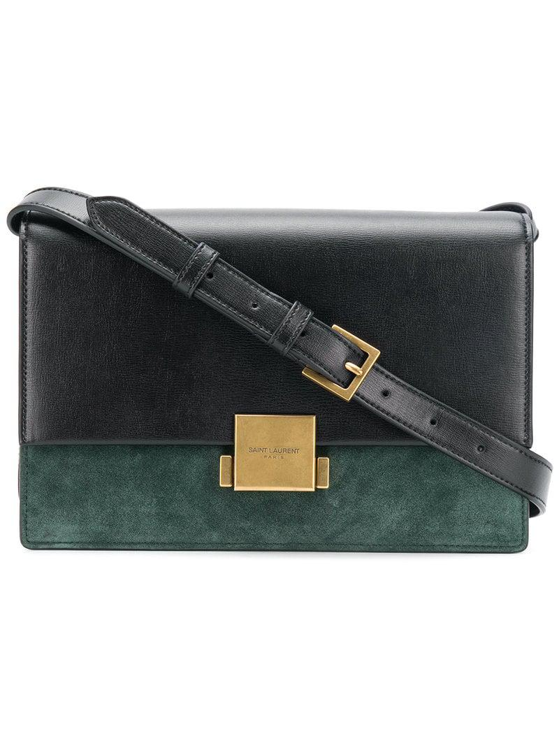 9ce3f69543 Saint Laurent - Black And Green Bellechasse Large Leather Shoulder Bag -  Lyst. View fullscreen