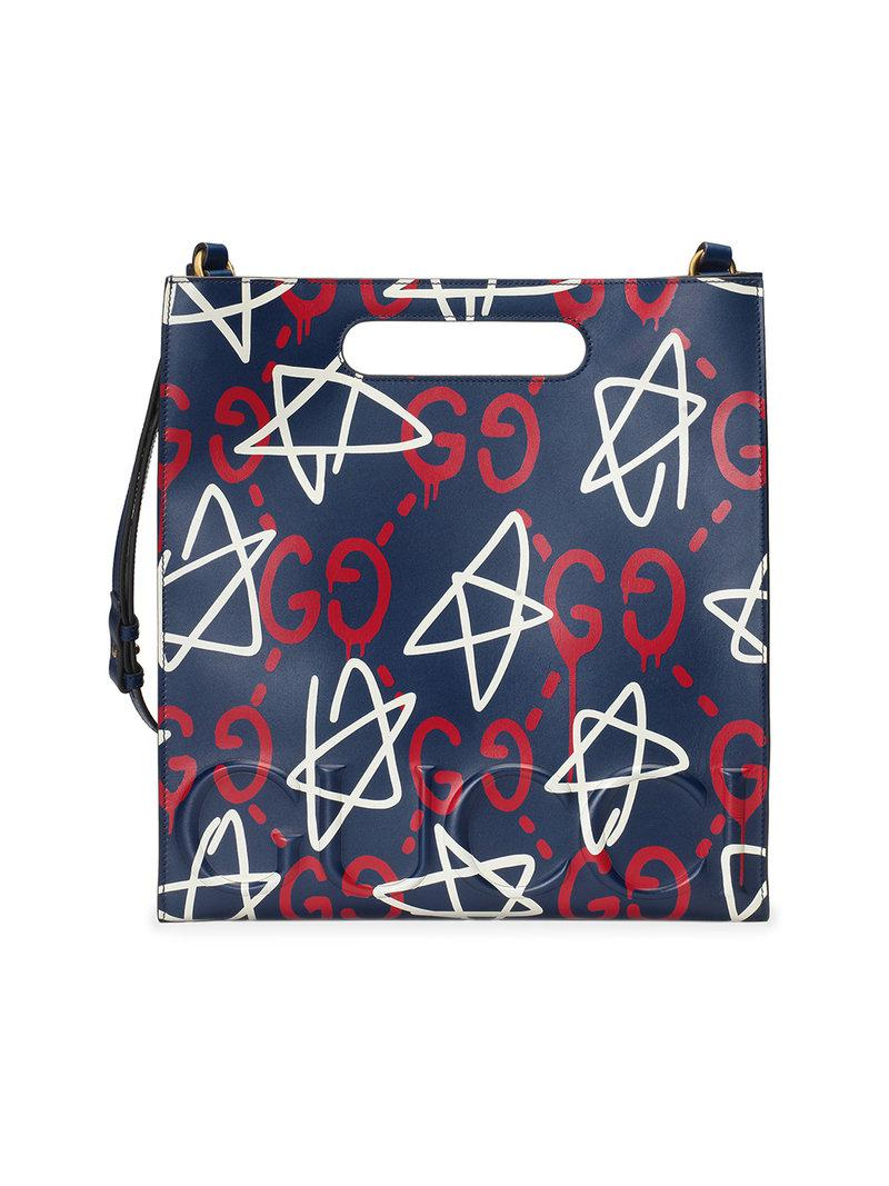 2fe72d74f35 Gucci Ghost Leather Tote in Blue for Men - Lyst