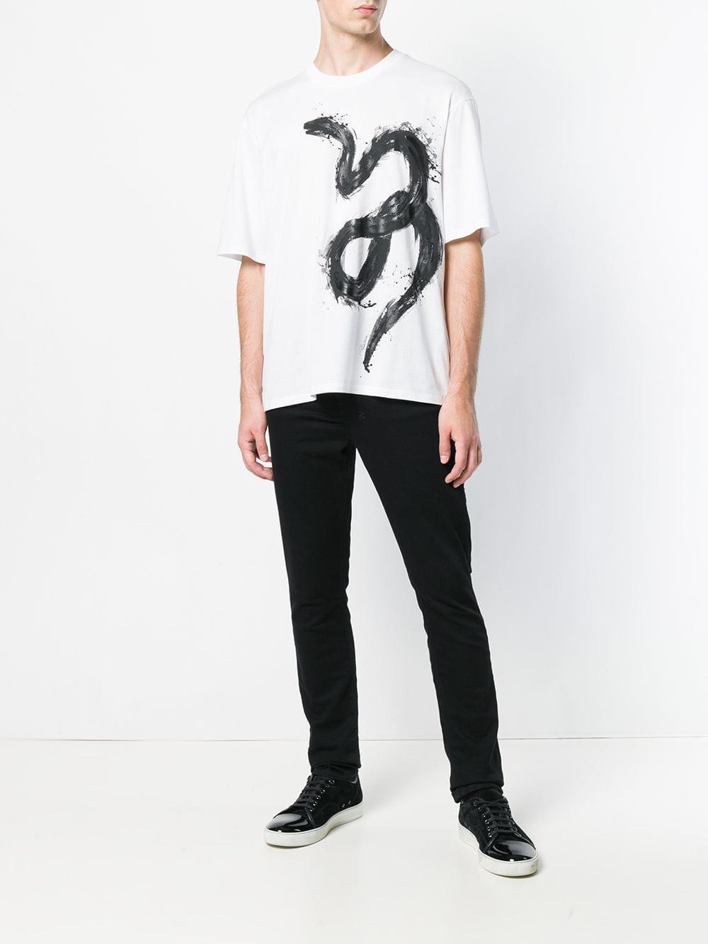 5eab9afb Roberto Cavalli Snake Print T-shirt in White for Men - Lyst