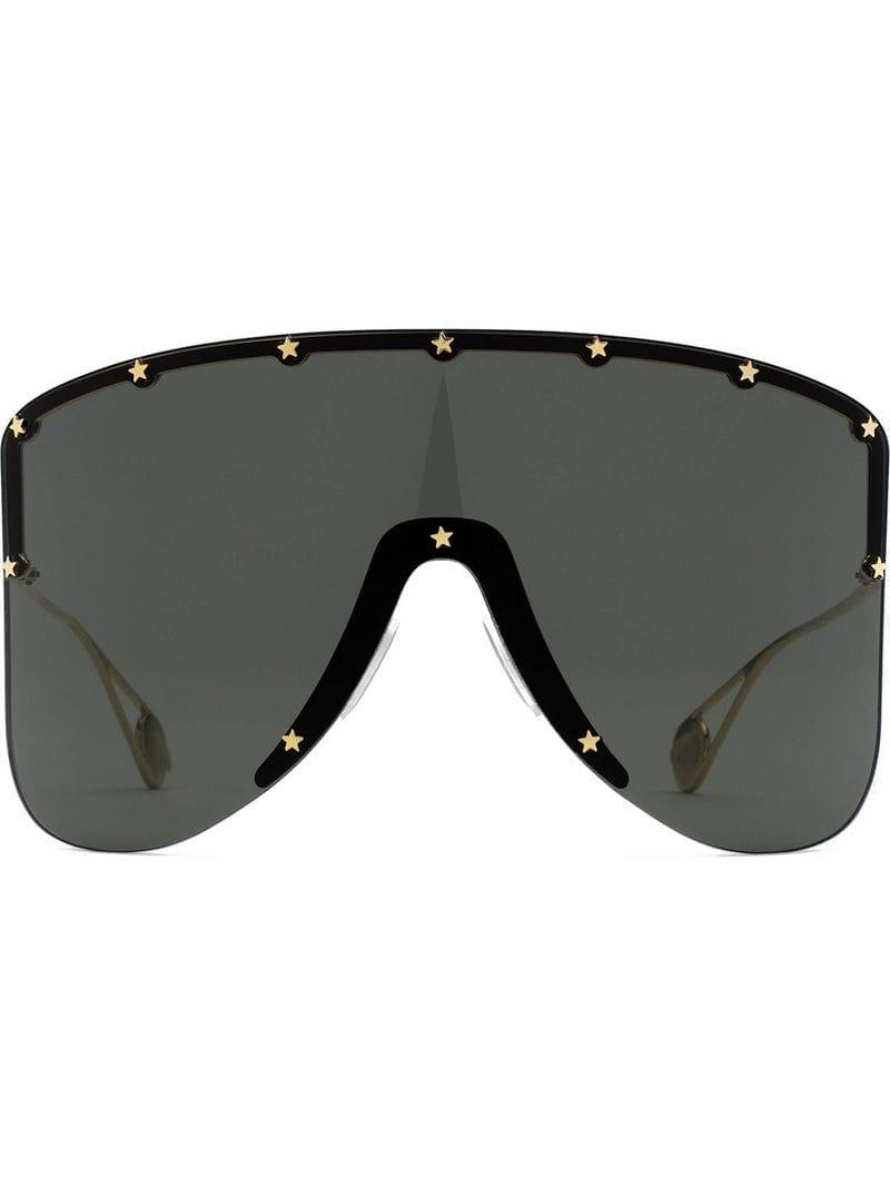 09e0ee1b798 Gucci Mask Sunglasses With Star Rivets in Gray - Lyst