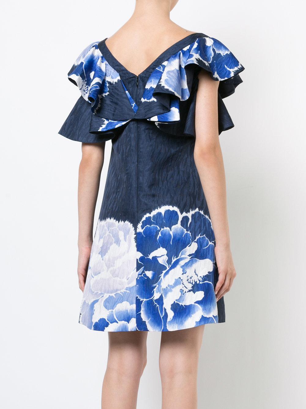 ruffle sleeve peony dress - Blue Natori f59NeXu8eM