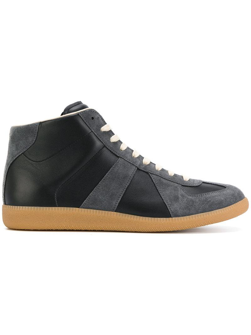Replica contrast-panel high-top leather trainers Maison Martin Margiela Finishline Online KkuJxpPI