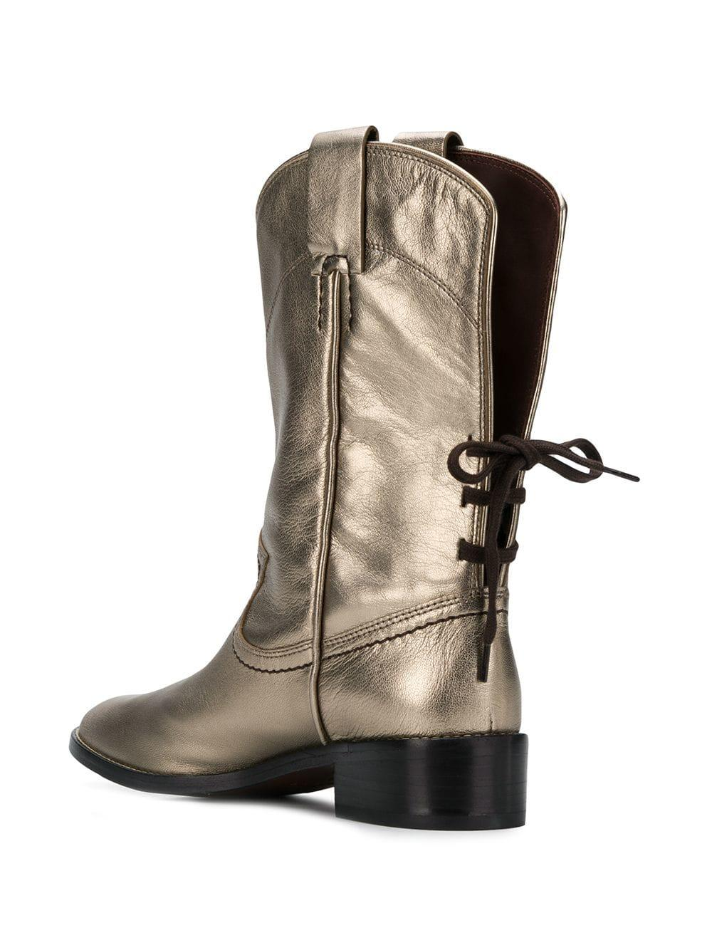 By Cowboy Boots Lyst Metallic In Mid See Inspired Calf Chloé ORq55TUPw