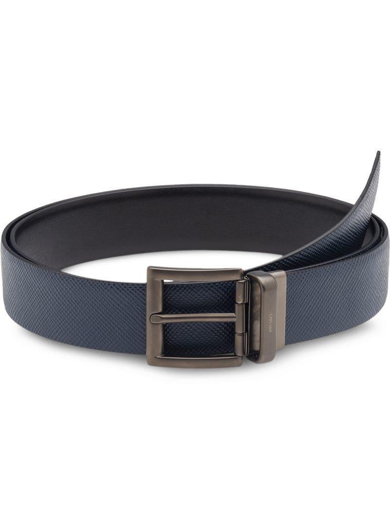 2b5dafe4c6fe5 Prada Saffiano Cuir Leather Reversible Belt in Blue for Men - Lyst