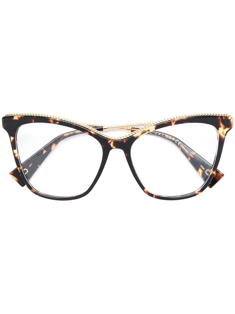 3a246b9d04b9 Marc Jacobs Oversized Tortoiseshell Cat Eye Glasses in Brown - Lyst